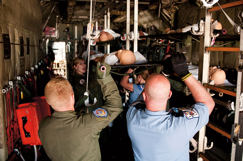 Federal civil authorities supported by DOD respond to simulated 6.0 magnitude earthquake on New Madrid Fault Line as part of National Level Exercise 2011 (U.S. Air Force/Maxwell Rechel)