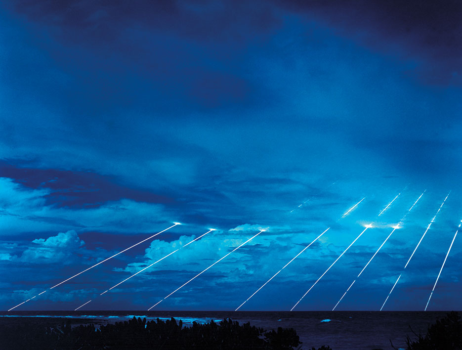 LGM-118A Peacekeeper missile system tested at Kwajalein Atoll in Marshall Islands shows paths of multiple re-entry vehicles deployed by missile <br />(U.S. Army/David James Paquin)
