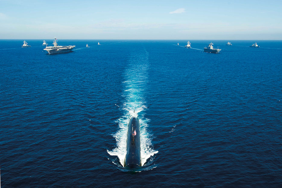 U.S. and Korean ships transit Pacific Ocean in 13-ship formation led by USS Tucson during exercise Invincible Spirit, July 2010 (U.S. Navy/Adam K. Thomas)