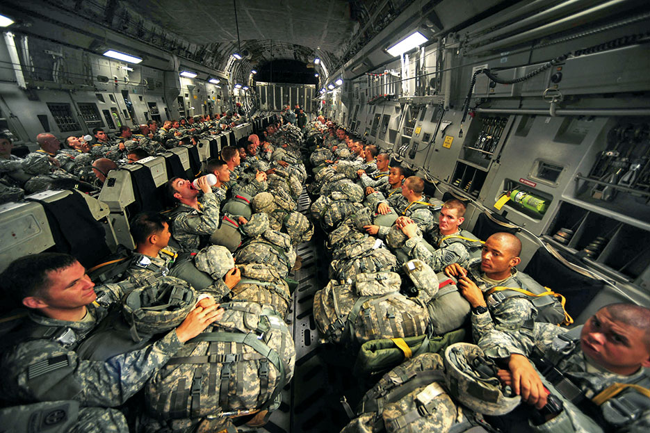 Army paratroopers wait to perform personnel airdrop mission during joint operational access exercise, Fort Bragg, June 2011 (U.S. Air Force/Asha Harris)