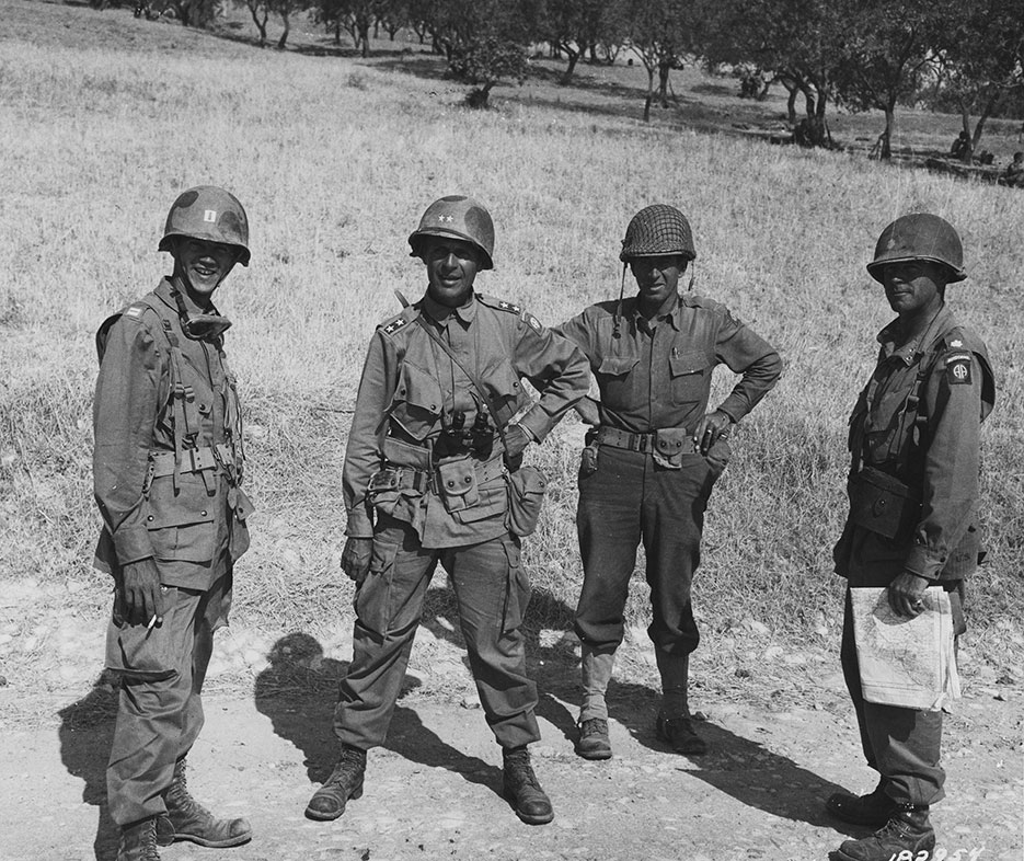 U.S. Army General Matthew Ridgway (second from left) in Ribera, Sicily, July 25, 1943