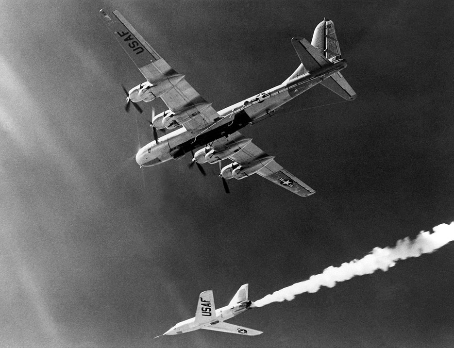 X-2 rocket plane dropped from B-50 Superfortress mothership in mid-1950s (NASA)
