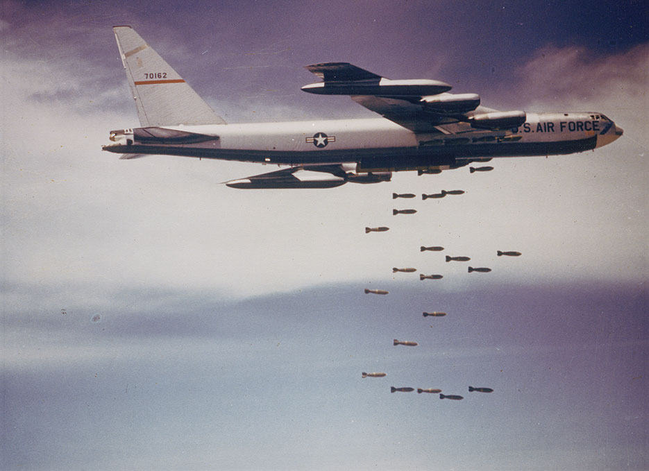 U.S. Air Force Boeing B-52F Stratofortress from 320th Bomb Wing dropping bombs over Vietnam in mid-1960s (U.S. Air Force)
