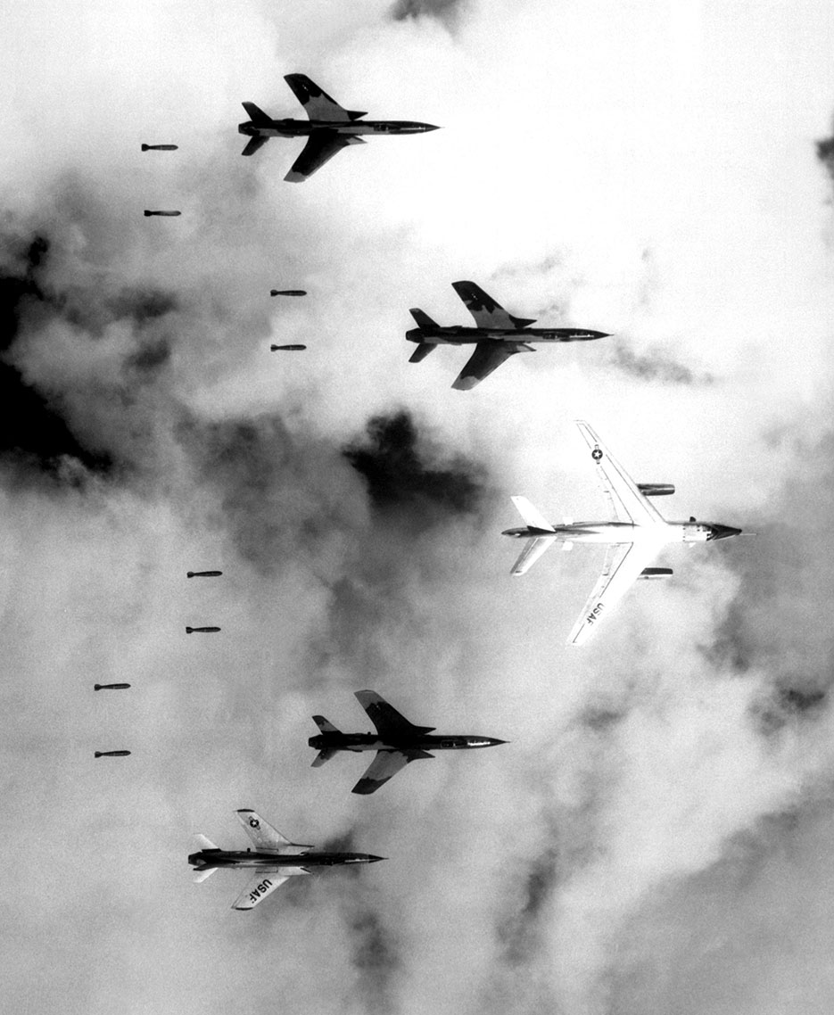 Flying under radar control with B-66 Destroyer, Air Force F-105 Thunderchief pilots bomb North Vietnam military target, June 14, 1966 (U.S. Air Force/NARA/Cecil J. Poss)