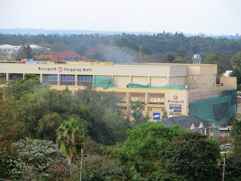 Smoke rises above Westgate Mall in Nairobi, September 23, 2013 (Anne Knight/Wikipedia)