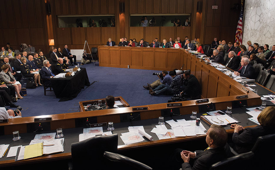 Then-Secretary Hagel and General Dempsey testify before Senate Armed Services Committee regarding President Obama's authorized military strikes in Syria to destroy, degrade, and defeat ISIL (DOD/Daniel Hinton)