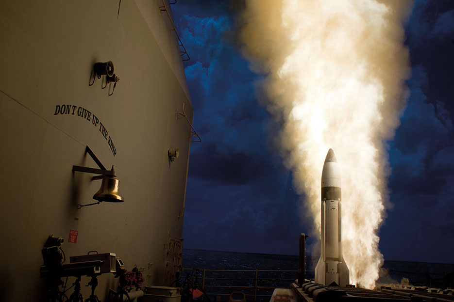 Guided-missile cruiser USS Lake Erie (CG 70) launches SM-3 Block 1B interceptor during Missile Defense Agency test and successfully intercepted complex short-range ballistic missile target off coast of Kauai, Hawaii (DOD/U.S. Navy)