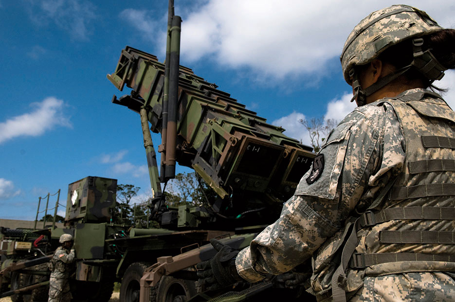 U.S. Soldiers perform pre-launch checks on Patriot missile launcher as part of field training exercise on Kadena Air Base, Japan (U.S. Air Force/Maeson Elleman)