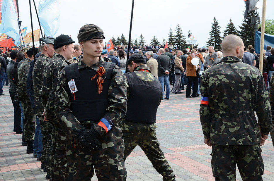 Insurgents in Donetsk, Ukraine, May 9, 2014 (Wikipedia/Andrew Butko)