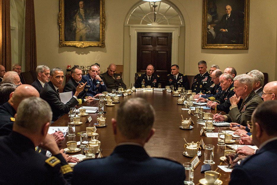 President Obama and Vice President Biden hold meeting with combatant commanders and military leadership in Cabinet Room, November 12, 2013 (White House/Pete Souza)