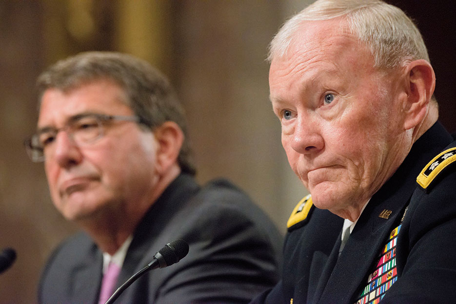General Dempsey joins Secretary Carter for testimony before U.S. Senate Committee on Armed Services hearing discussing Counter-ISIL strategy, July 2015 (U.S. Army/Sean K. Harp)
