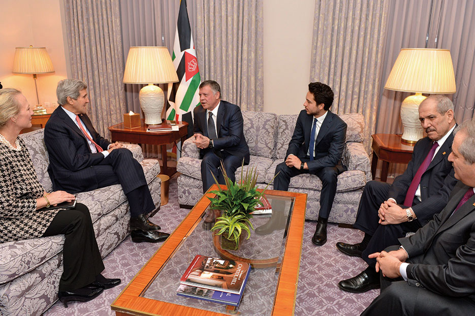 Secretary Kerry and U.S. Ambassador to Jordan Alice Wells meet with King Abdullah II of Jordan, Crown Prince Hussein bin Abdullah, and other top advisors in Washington, DC, February 2015 (Department of State)