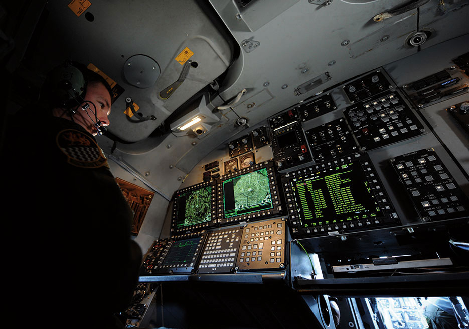 Airman checks diagnostic information after applying three different upgrades that give pilots more situational awareness data in user-friendly formats (U.S. Air Force/Alexander Guerrero)
