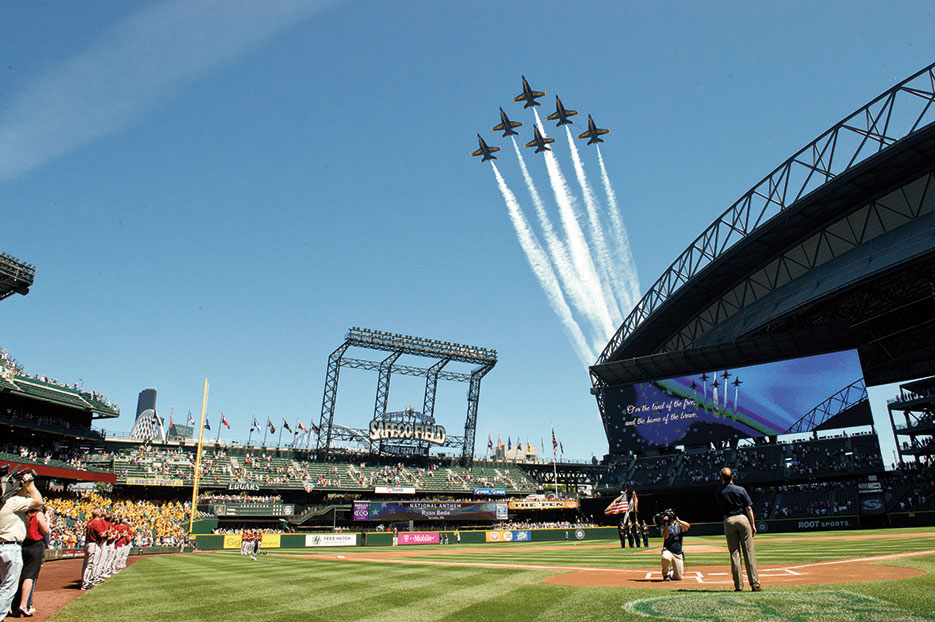 Blue Angels fly over Safeco Field before Mariners baseball game in Seattle, Washington, July 29, 2015 (U.S. Navy/Michael Lindsey)