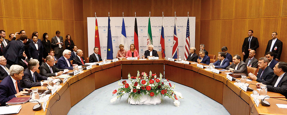 Participants in Iran nuclear negotiations in Vienna on day deal was signed (Flickr/Dragan Tatic)