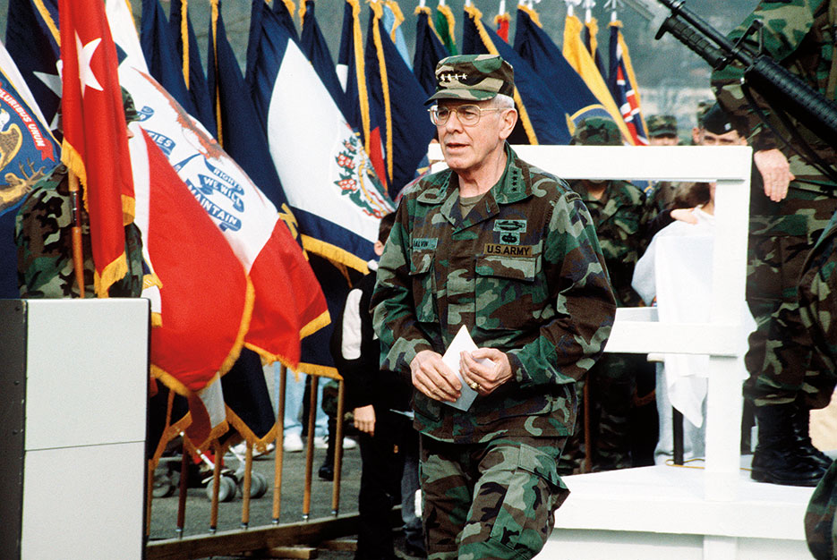General John R. Galvin, NATO's Supreme Allied Commander, Europe, takes part in farewell ceremony in honor of troops of 1st Infantry Division, 1991 (DOD/Edward Pillars)