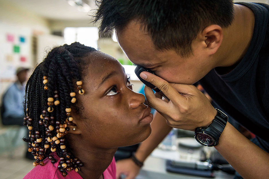 Eye exam conducted as part of U.S. Southern Command–sponsored and U.S. Naval Forces Southern Command/U.S. 4th Fleet-conducted Continuing Promise 2015, August 4, 2015 (U.S. Navy/Kameren Guy Hodnett)