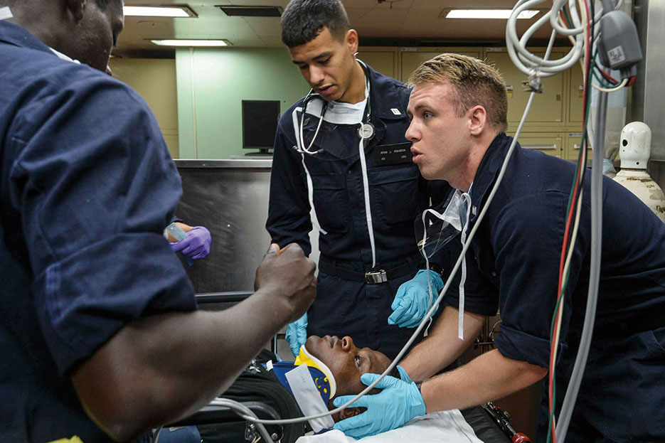 USNS Mercy Servicemembers conduct mass casualty drill during Pacific Partnership 2015, July 16, 2015 (U.S. Navy/Mayra A. Conde)