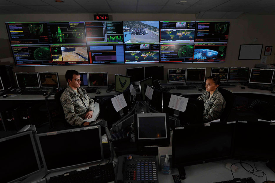Airmen work in Global Strategic Warning and Space Surveillance System Center at Cheyenne Mountain Air Force Station, Colorado, September 2014 (U.S. Air Force/Krystal Ardrey)
