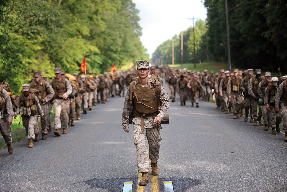 Marine supervises The Basic School permanent personnel battalion during 10-mile hike aboard west side of Marine Corps Base Quantico, Virginia, June 2013 (U.S. Marine Corps/Cuong Le)