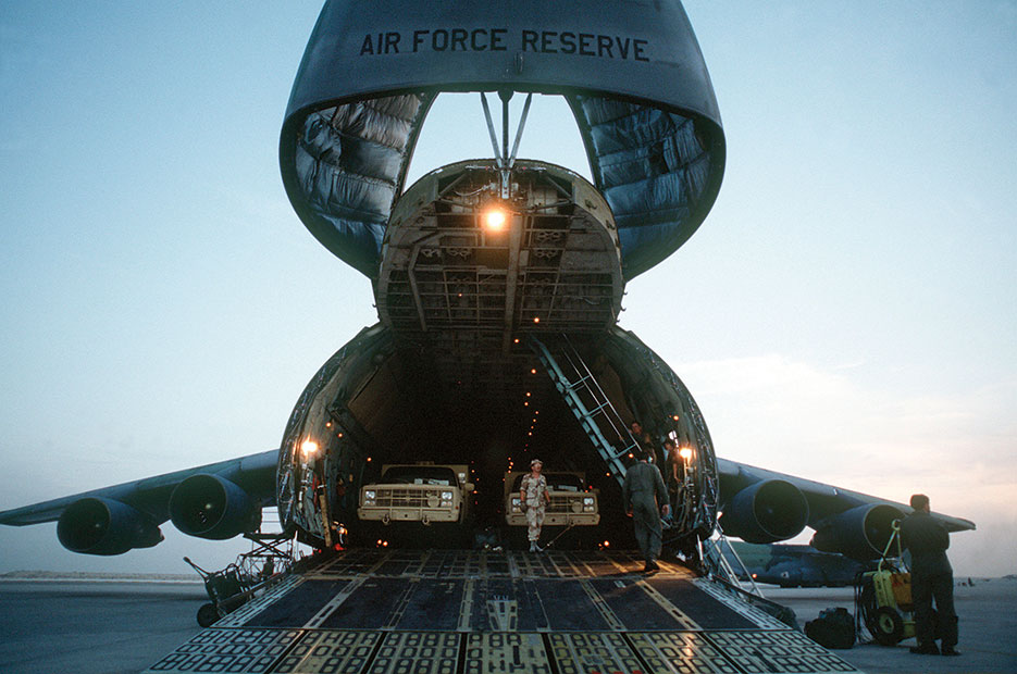 C-5 Galaxy cargo hold and intercontinental flight capabilities were major assets for deploying equipment during Operation <i>Desert Shield</i> (U.S. Air Force)