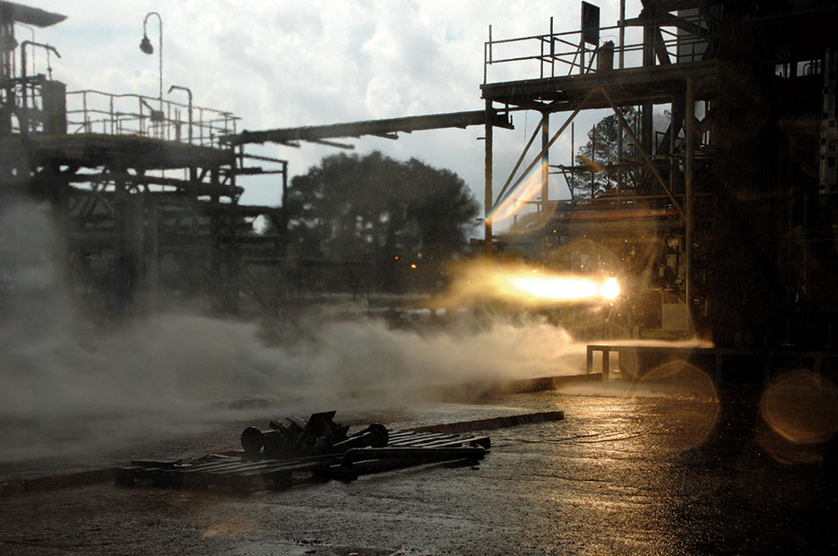 3-D printed rocket part blazes to life during hot-fire test designed to explore how well large rocket engine components withstand temperatures up to 6,000 degrees Fahrenheit and extreme pressures (NASA/MSFC/Emmett Given)