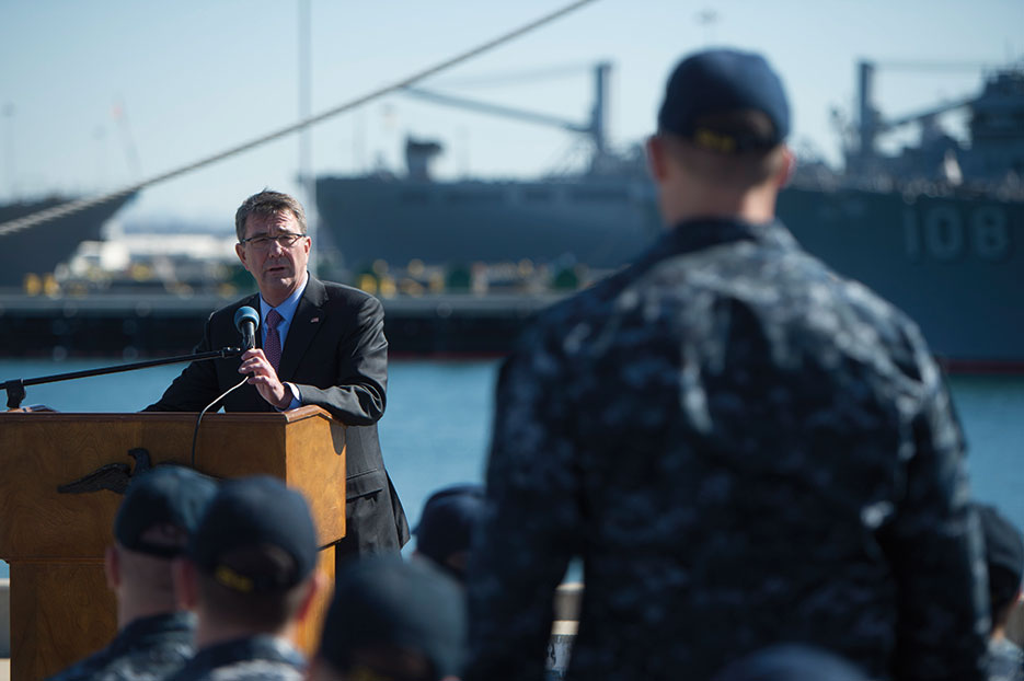 Secretary Carter answers Sailor's question during troop event at Naval Base San Diego, California, February 2016 (DOD/Tim D. Godbee)