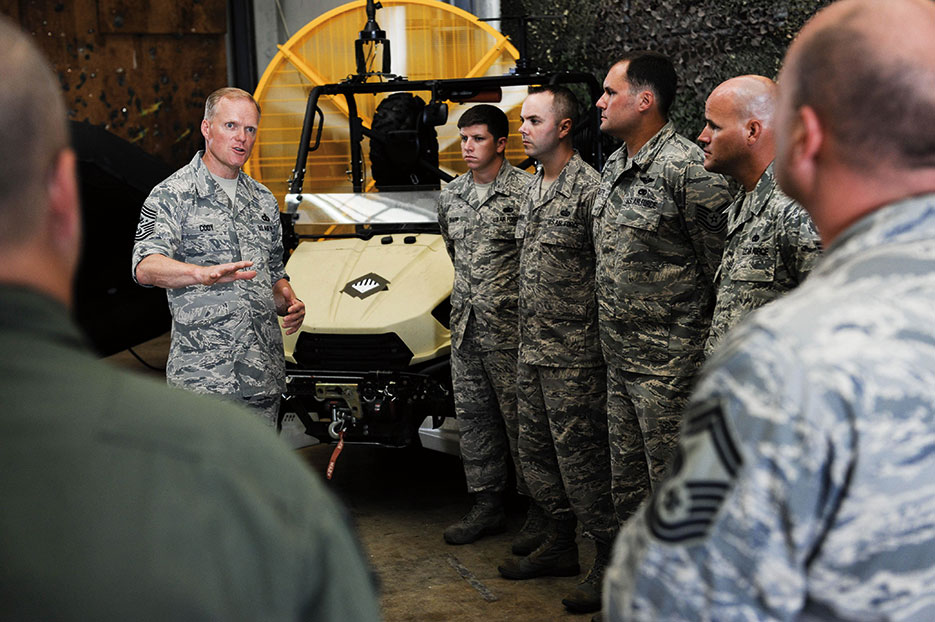 Chief Master Sergeant of the Air Force James A. Cody speaks to Airmen of 353<sup>rd</sup> Special Operations Group at Kadena Air Base, Japan, July 2015 (U.S. Air Force/John Linzmeier)