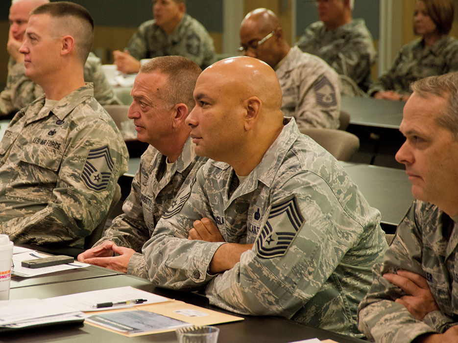 Air National Guard senior noncommissioned officers listen to presentations during Stat Tour Senior EnlistedLeaders Fly-In Conference at Joint Base Andrews, Maryland, November 2015 (U.S. Air National Guard/John E. Hillier)