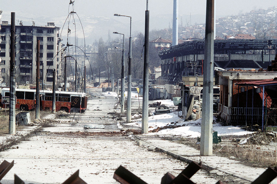 View of downtown Grbavica, a neighborhood in Sarajevo, March 1996 (Stacey Wyzkowski)