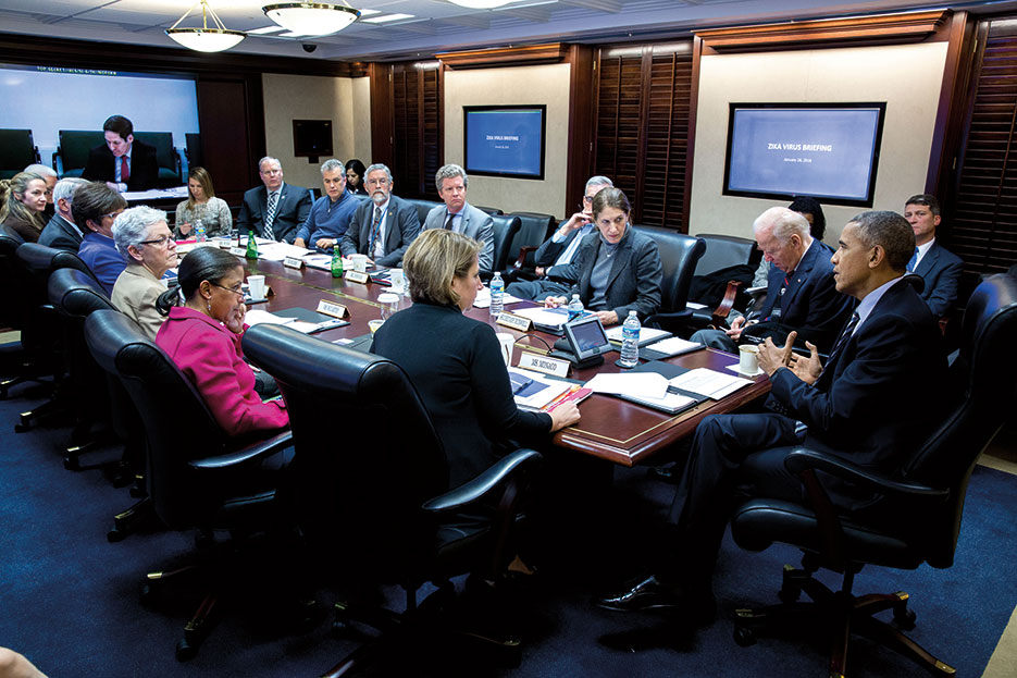 President Obama convenes meeting on Zika virus in Situation Room, January 2016 (The White House/Pete Souza)