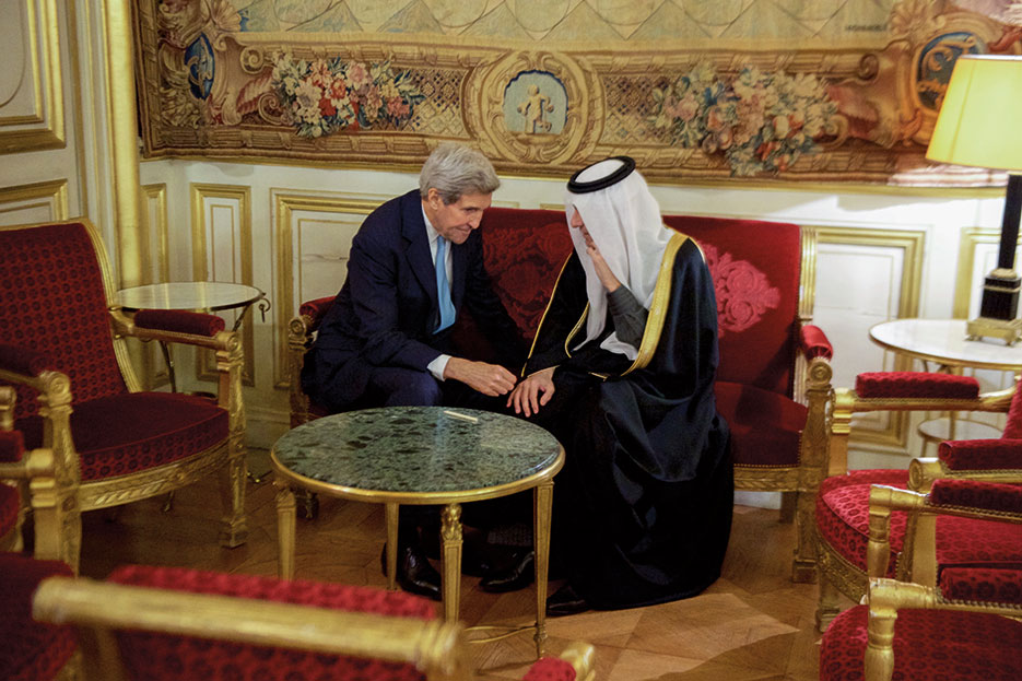 Secretary Kerry and Saudi Arabian Foreign Minister Adel al-Jubeir at French Foreign Ministry in Paris before multinational meeting to discuss future of Syria, December 2015 (State Department)