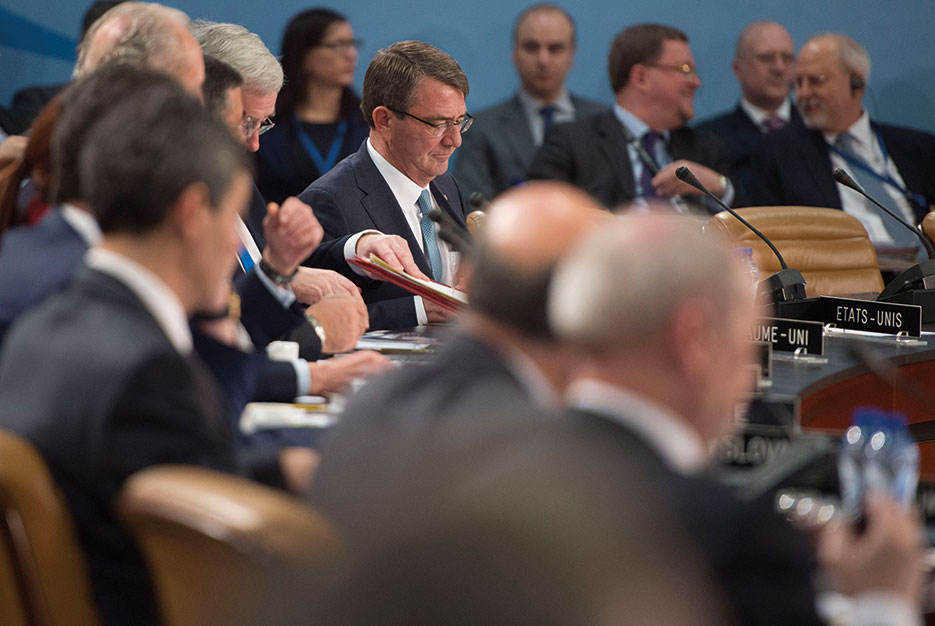 Secretary Carter attends North Atlantic Council meeting at NATO headquarters in Brussels, February 2016 (DOD/Adrian Cadiz)