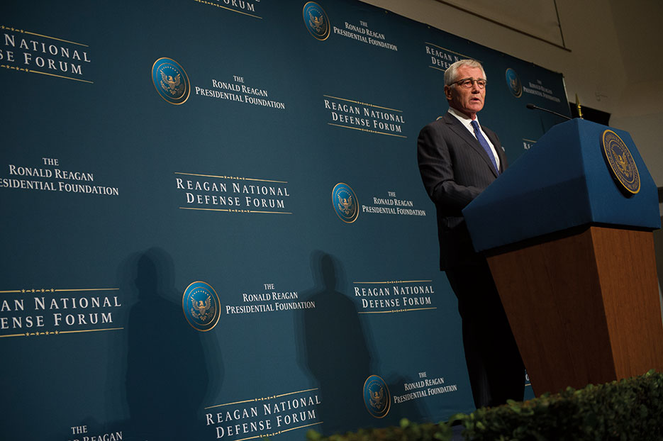 Then–Secretary of Defense Chuck Hagel announces Defense Innovation Initiative and Third Offset Strategy during Reagan National Defense Forum at The Ronald Reagan Presidential Library in Simi Valley, California, November 15, 2014 (DOD/Sean Hurt)