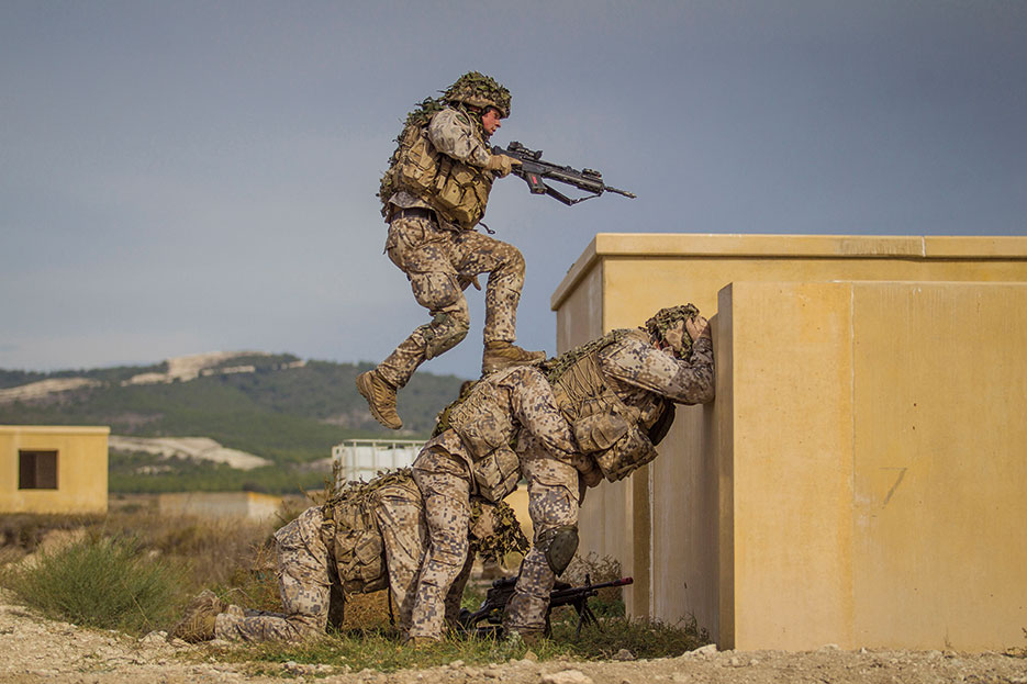Baltic battalion soldiers during city battle training day in San Gregorio, Spain, October 24, 2015, during Trident Juncture 2015 (NATO/Siim Teder)