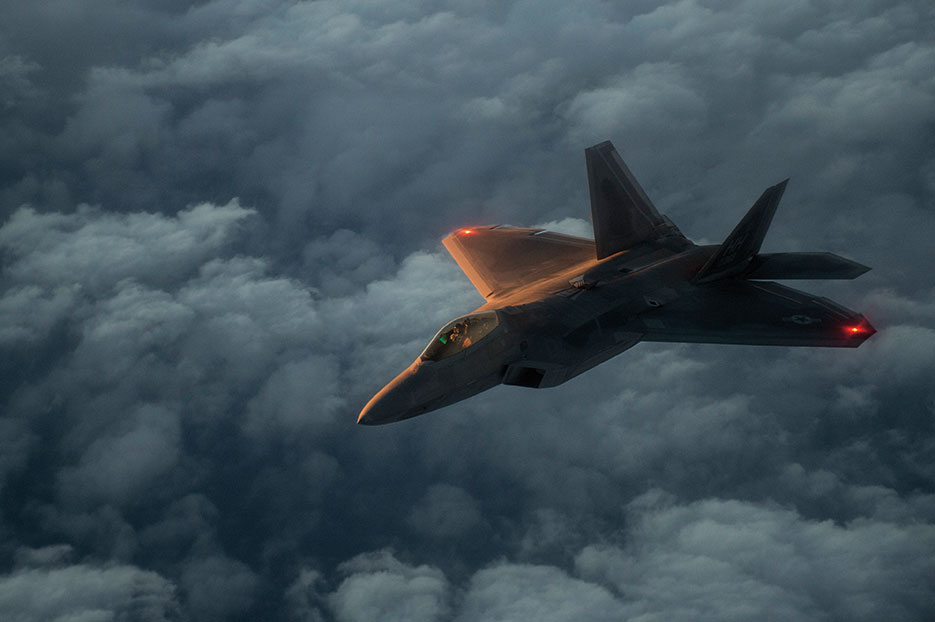 U.S. Air Force F-22 Raptor flies over Arabian Sea in support of Operation Inherent Resolve, January 27, 2016 (U.S. Air Force/Corey Hook)