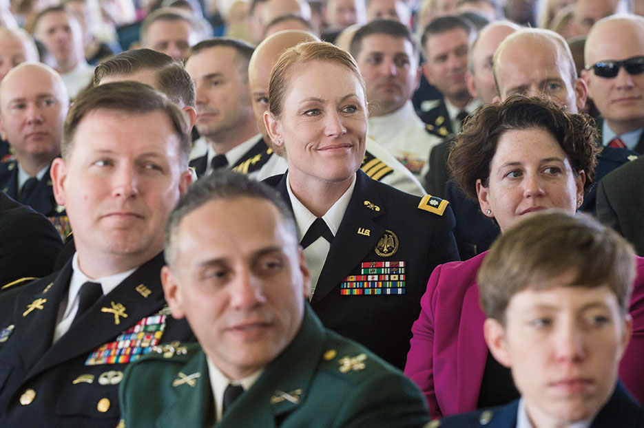 Audience members listen to General Dunford deliver graduation address at National Defense University's 2016 graduation ceremony, on Fort Lesley J. McNair, Washington, DC, June 9, 2016 (DOD/Sean K. Harp)
