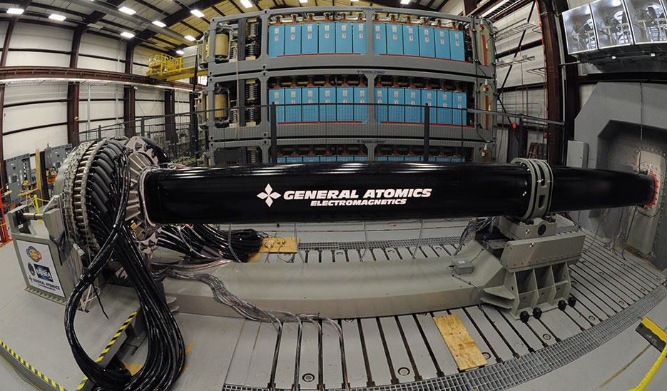 Electromagnetic Railgun launches projectiles using electricity instead of chemical propellants for use aboard ships, June 21, 2012 <br />(U.S. Navy/John F. Williams)