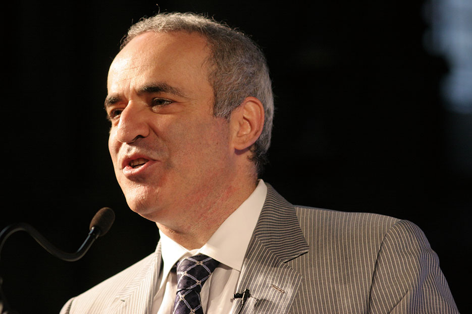 Garry Kasparov, chess grandmaster and former world champion, speaking at Turing centennial conference at Manchester, June 25, 2012 (Courtesy David Monniaux)