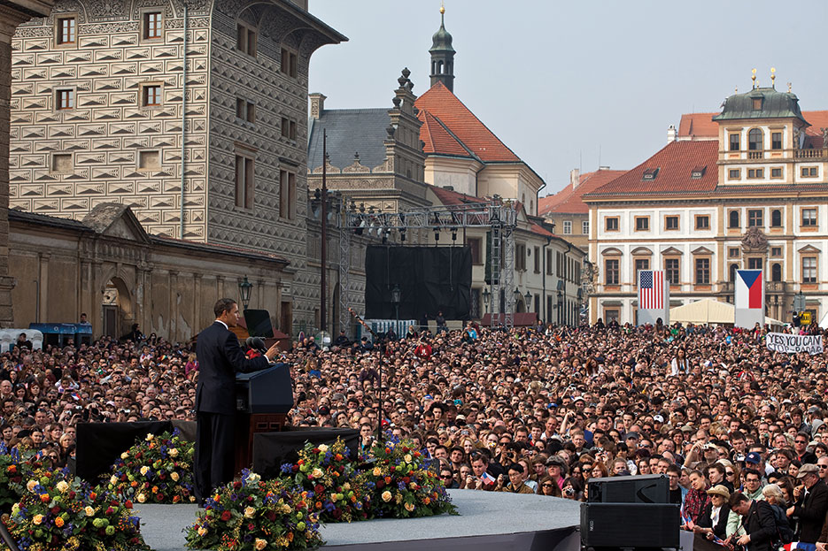 President Obama delivers first major speech stating commitment to seek peace and security of world without nuclear weapons in front of thousands in Prague, Czech Republic, April 5, 2009 (White House/Pete Souza)
