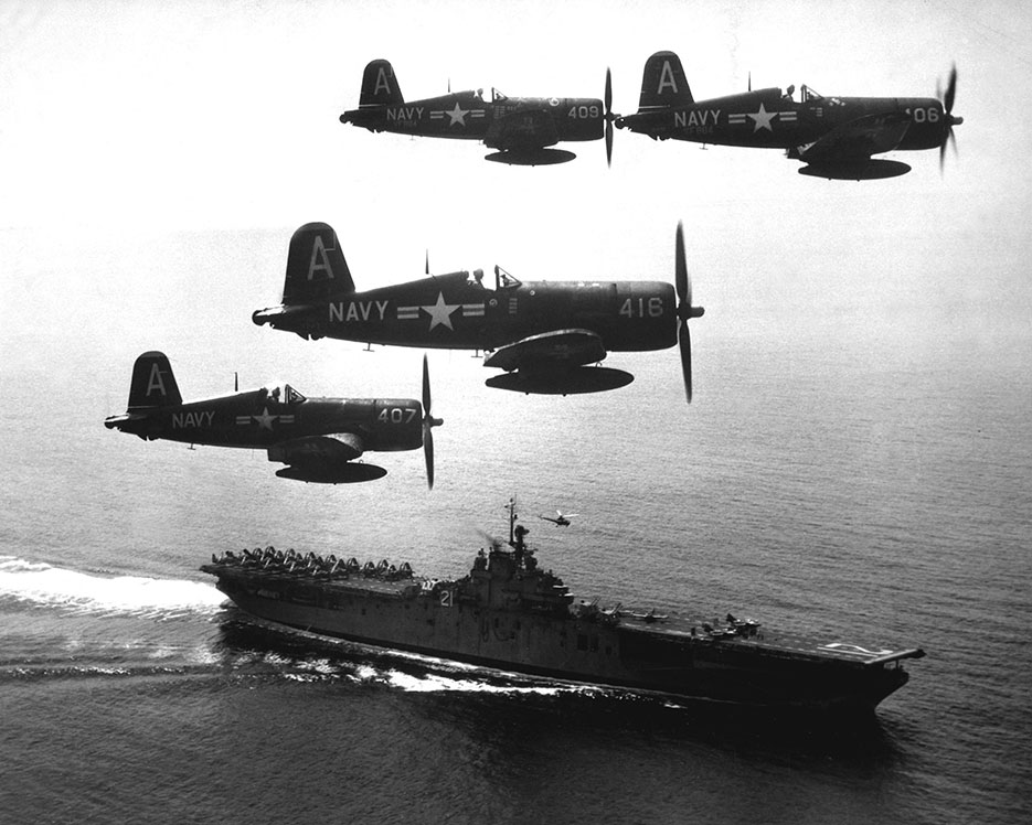 Corsairs returning from combat mission over North Korea circle USS Boxer as they wait for planes in next strike to launch, September 4, 1951 (U.S. Navy/NARA)