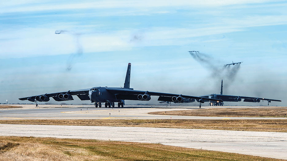U.S. Air Force B-52 Stratofortress, B-1 Lancer, and B-2 Spirit launch from Andersen Air Force Base, Guam, for integrated bomber operation, August 2016 (U.S. Air Force/Richard P. Ebensberger)
