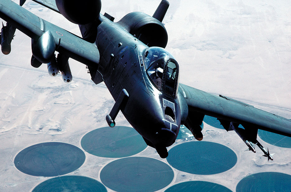 A-10A Thunderbolt II aircraft flies over target area during Operation Desert Storm (U.S. Air Force/Fernando Serna)