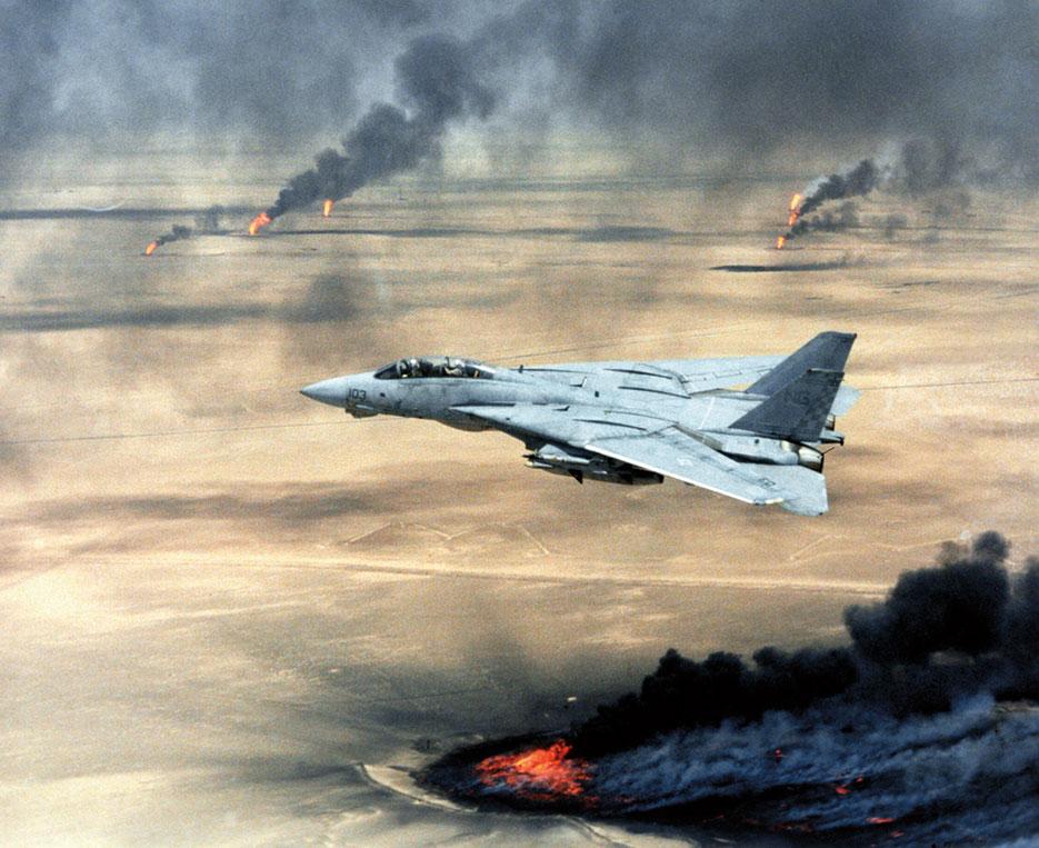 U.S. Navy F-14A Tomcat, Fighter Squadron 211, Naval Air Station Oceana, Virginia Beach, Virginia, in flight over burning Kuwaiti oil wells during Operation Desert Storm (U.S. Air Force)