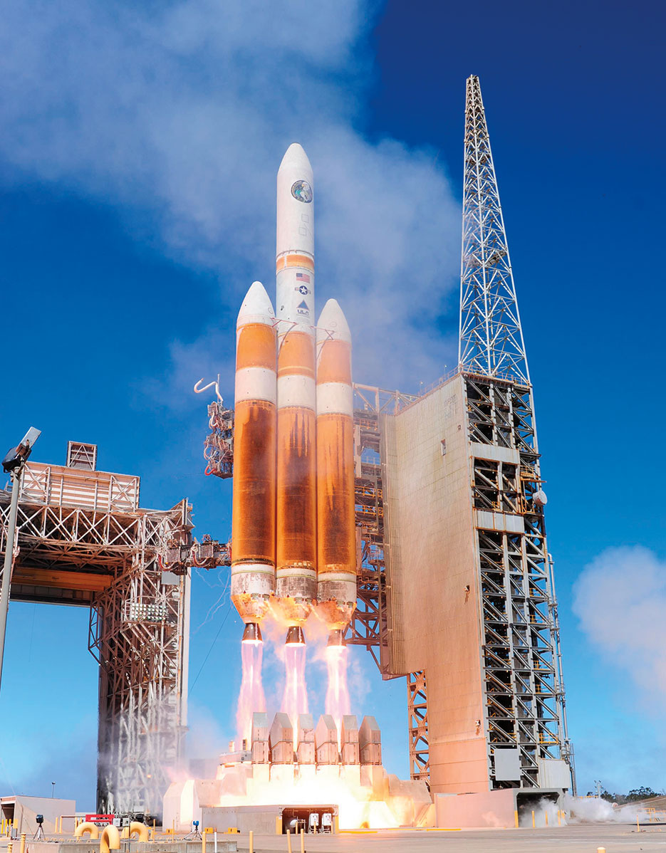 United Launch Alliance Delta IV-Heavy rocket carrying National Reconnaissance Office payload launches from Space Launch Complex-6, August 28, 2013, at Vandenberg Air Force Base (U.S. Air Force/Yvonne Morales)