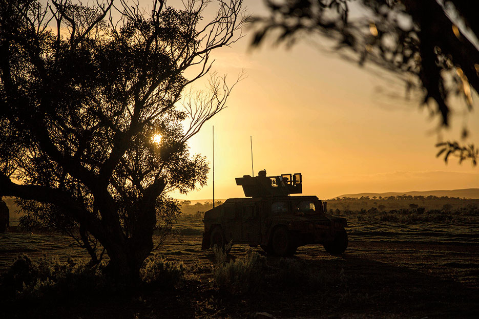 U.S. Marines move toward objective during Exercise Hamel at Cultana Training Area, South Australia, Australia, July 2016 (U.S. Marine Corps/Mandaline Hatch)