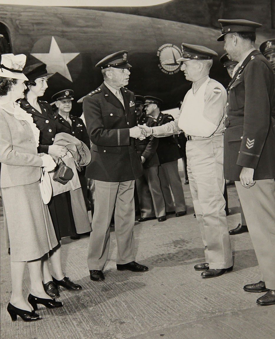 Upon his arrival in Washington, General Ben Lear (left) greets injured General McNair (NDU Special Collections)