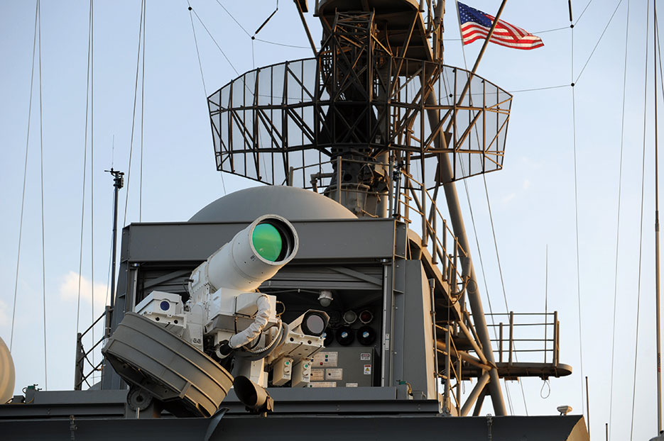 Afloat Forward Staging Base (Interim) USS Ponce conducts operational demonstration of Office of Naval Research–sponsored Laser Weapon System while deployed to Arabian Gulf, November 15, 2014 (U.S. Navy/John F. Williams)