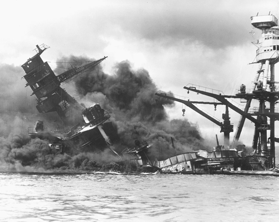 Battleship USS Arizona sinking after being hit by Japanese air attack on December 7, 1941, Pearl Harbor (U.S. Navy/National Archives and Records Administration)