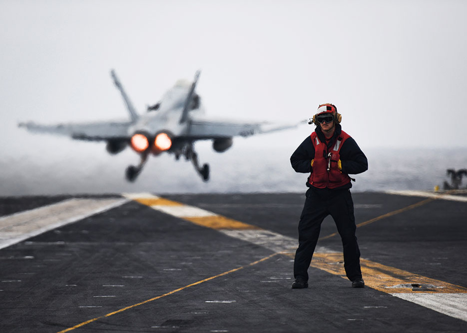 USS Nimitz conducts Tailored Ship's Training Availability and Final Evaluation Problem, which evaluates crew on performance during training drills and real-world scenarios, Pacific Ocean, November 2016 (U.S. Navy/Siobhana R. McEwen)